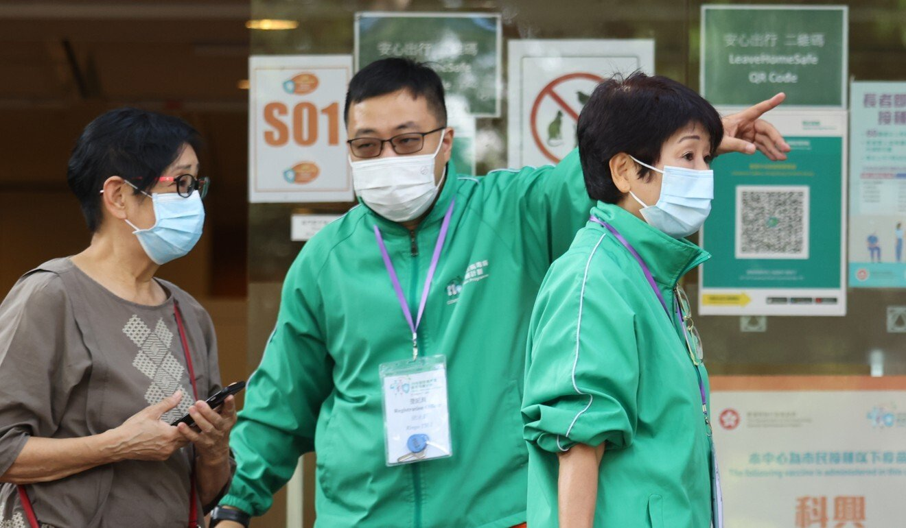 People waiting for coronavirus jabs in August at the Hong Kong Central Library in Causeway Bay.